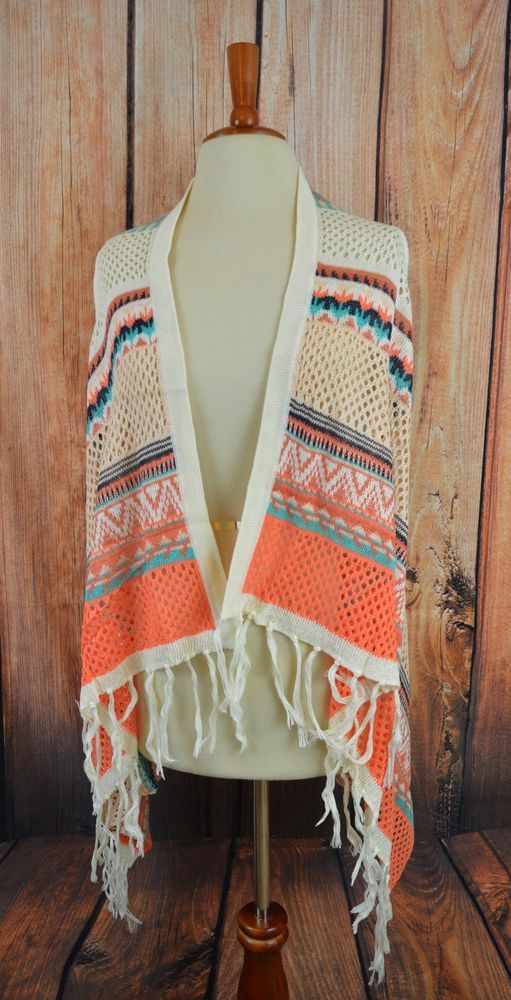 CARDIGAN FRINGE Boho VEST Cowgirl Gypsy Western Southwest Sweater Knit Large #other #Cardigan