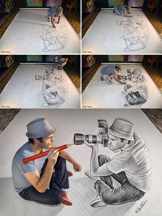 Drawing meets photographer by Ben Heine #art