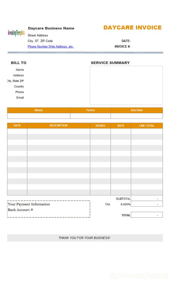 Daycare Invoice Template Glow Pinterest - daycare invoice templates
