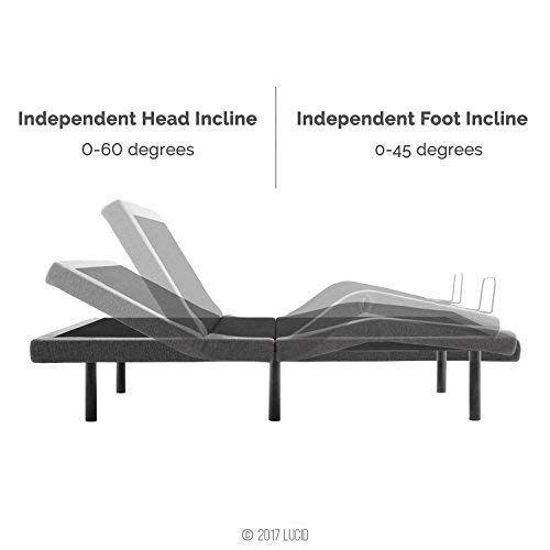 Lucid L300 Adjustable Bed Base 5 Minute Assembly Dual Usb Charging Stations Head And Foot Incline Wireless Remote Control Upholstered Ergonomic Tw Adjustable Beds Adjustable Bed Base Bed Base