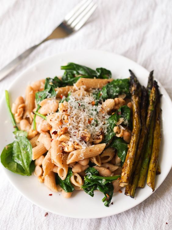 ... grain penne with white beans, spinach and a garlicky anchovy sauce