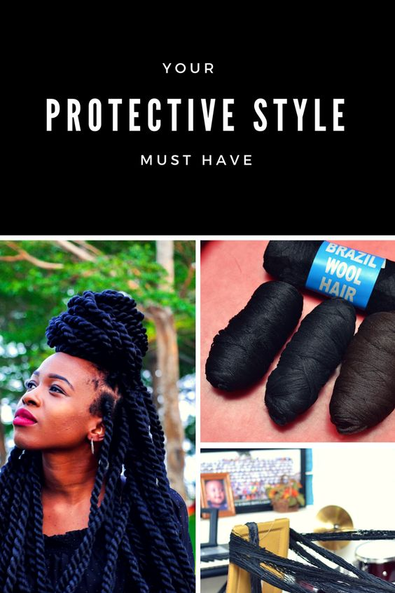 Protective Styles Brazilian Wool African Hair Braiding Styles Brazilian Wool Hairstyles Yarn Braids Styles