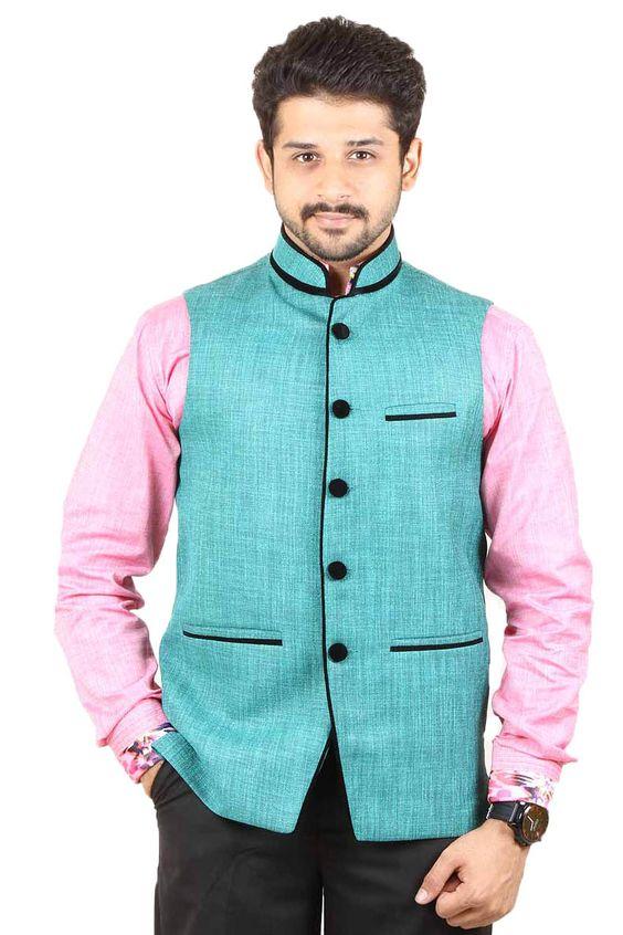 Buy Green Color Rai Sahab Modi Jacket and Nehru Jacket For Men ...