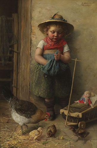 Feeding Chicks.  Artist?: