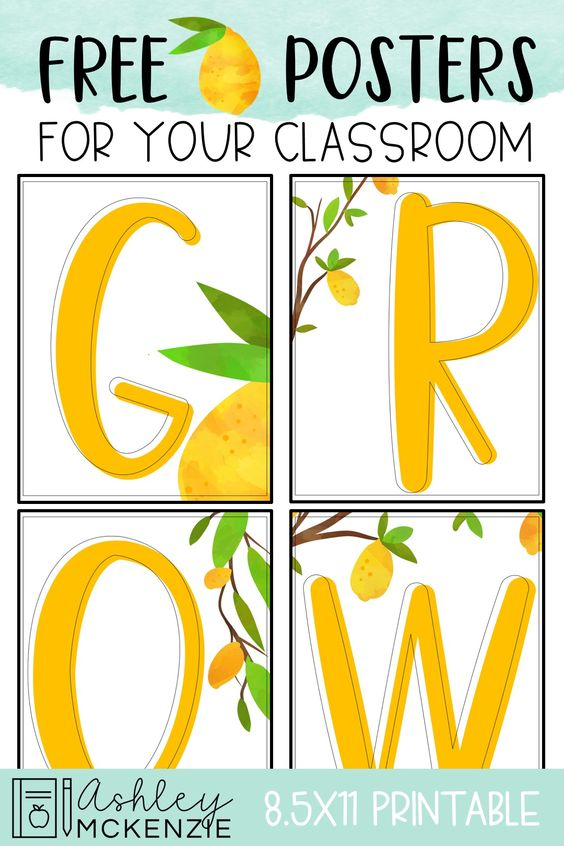 graphic about Free Printable Classroom Posters identify Cost-free LEMON CLASSROOM POSTERS - Ashley McKenzie