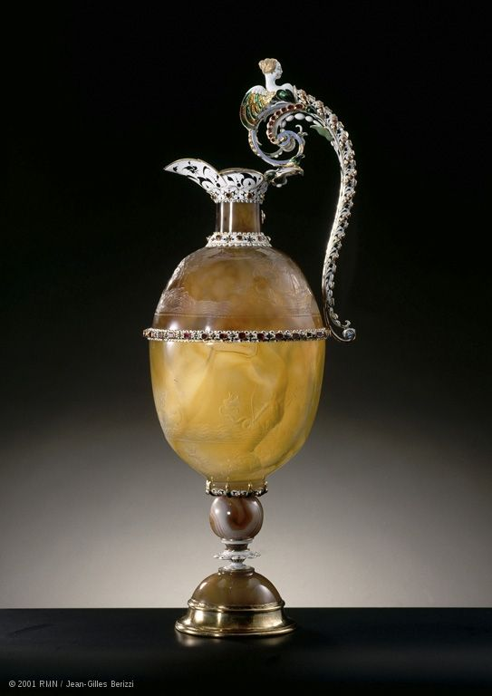 This ewer came into the collection of Louis XIV some time between 1681 and 1684. Jean Vangrol, a goldsmith of Flemish origin who lived in Paris, probably made the mounting in about 1640.: