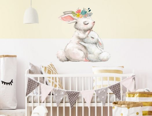 Wandtattoo Kinderzimmer Aquarell Hasen Mama Mit Baby Hase I Love