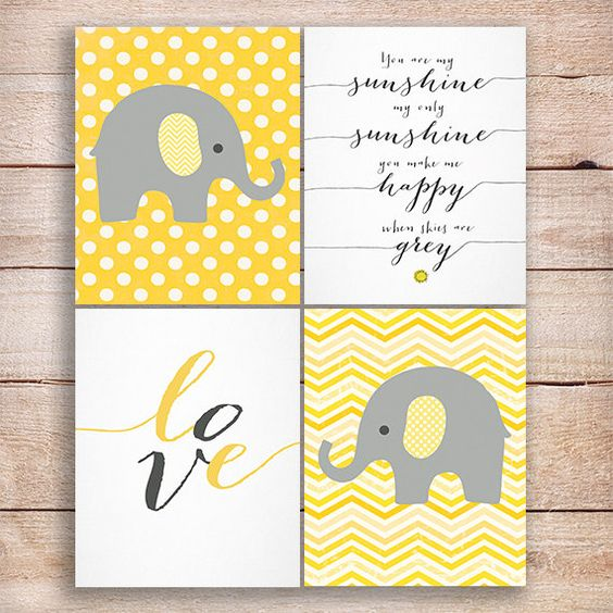 50% Off SALE. Elephant yellow gray Nursery art, Elephant Nursery print, yellow Nursery, Nursery Elephant decor Set of 4,You are my sunshine