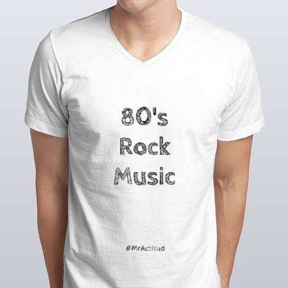 #MrActitudCamisetas White Man Colección Rock music 90s & 80s Playeras #MrActitud Blanco hombre V 80s -neck - designed by mractitud using Snaptee