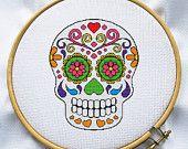 Sugar skull cross stitch pattern, Instant Download, Free shipping, Cross-Stitch PDF, MCS068