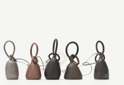 """Josephine Winther - """"ding"""" 2011 -  Bell necklaces in various metal alloys. Photographer Jeppe Gudmundsen Danish Crafts Collection 15:"""