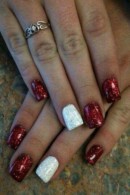 Xmas manicure idea - Red/White Glitter