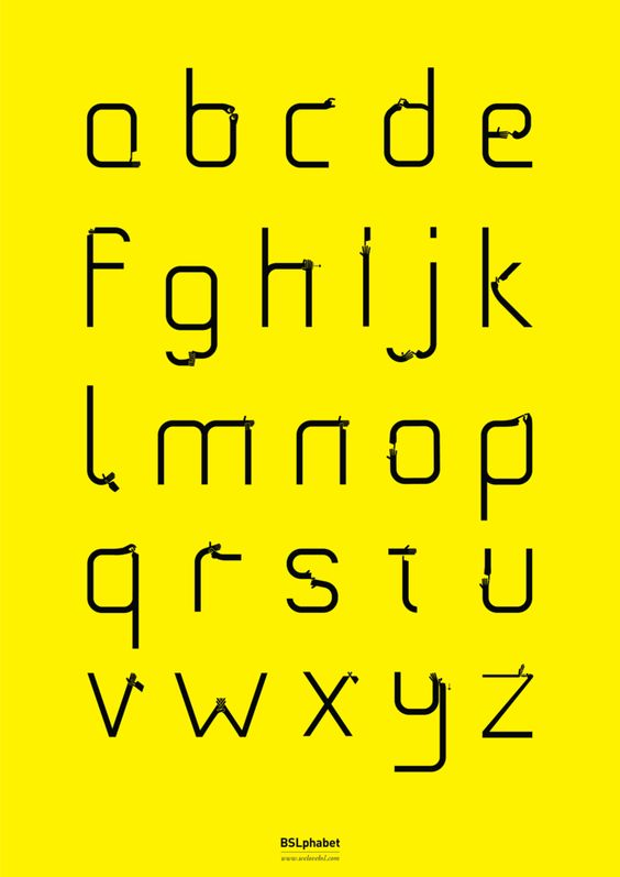 BSLphabet Poster - Yellow,