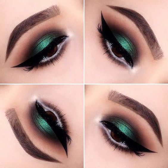 Emerald and Brown Smokey Eye Look