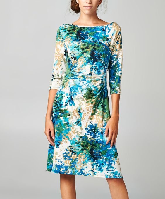 Look what I found on #zulily! Black & Green Abstract Ruched Dress by Urban Love #zulilyfinds