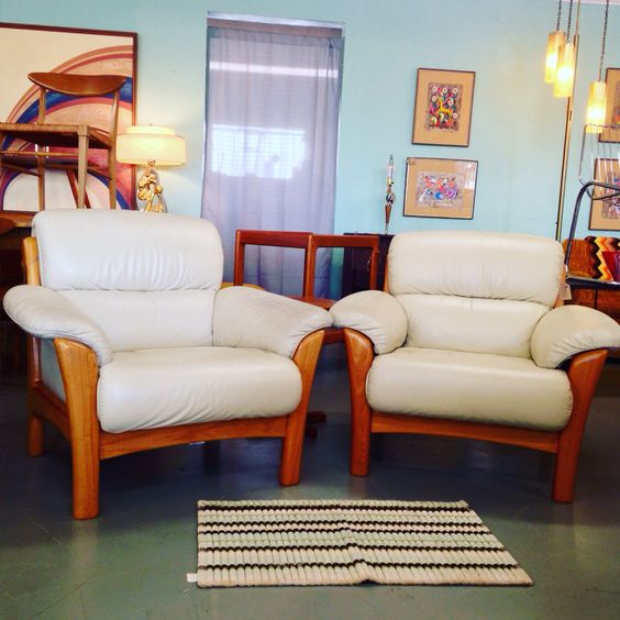 Ekornes Teak and White Leather Lounge Chairs $1750  #sold