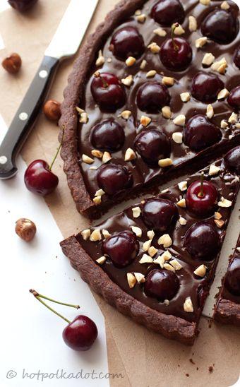 chocolate hazelnut cherry tart.