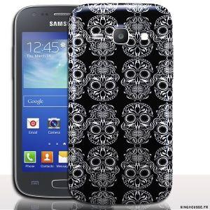 Coque samsung ace 4 Tete de Mort - Coque Calavera Mexicain, accessoire telephone. #coque #telephone #portable #samsung #ace #4 #Skull #calavera #noire #cover #case