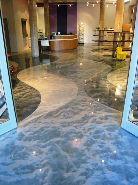 Custom Engraved Concrete Floor Water Garden Spa At Enjoy