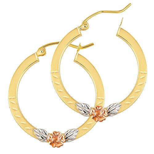 14k Tri-Color Gold 2mm Thick Round Tube Diamond-Cut Round Hoop Earrings 25mm