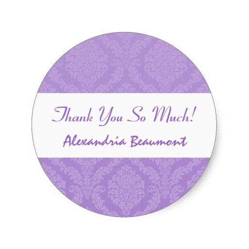 Bridal Shower Thank You Lavender Purple Damask V59 Round Stickers