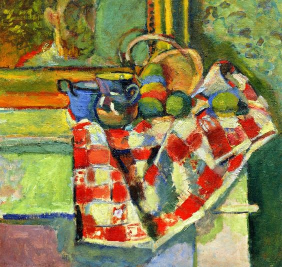 """""""Still Life, Checked Tablecloth"""" in 1903 by Henri Matisse."""