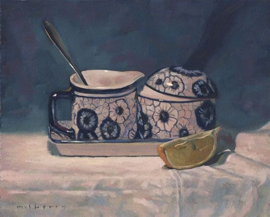 """$970. French Set with Lemon on Linen. Oils on panel still life. 8""""x10""""  http://www.mcsherry.ie/french-set-with-lemon-on-linen"""