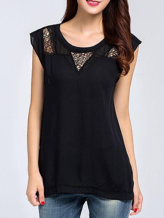 Shop T-Shirts - Black Pierced Casual Rayon T-Shirt online. Discover unique designers fashion at StyleWe.com.: