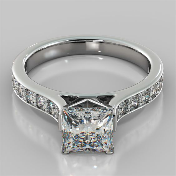 Princess Cut Cathedral Engagement Ring With Round Cut Accents