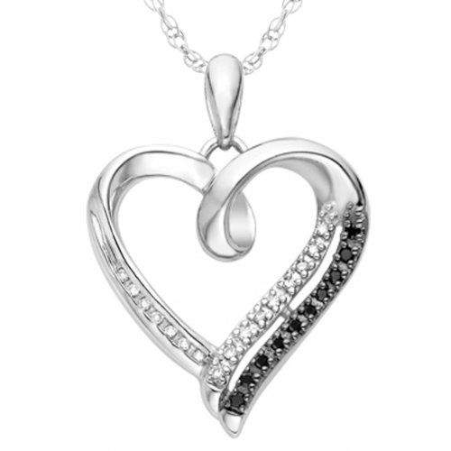 Sterling Silver Black and White Round Diamond Heart Pendant (1/10 cttw ...