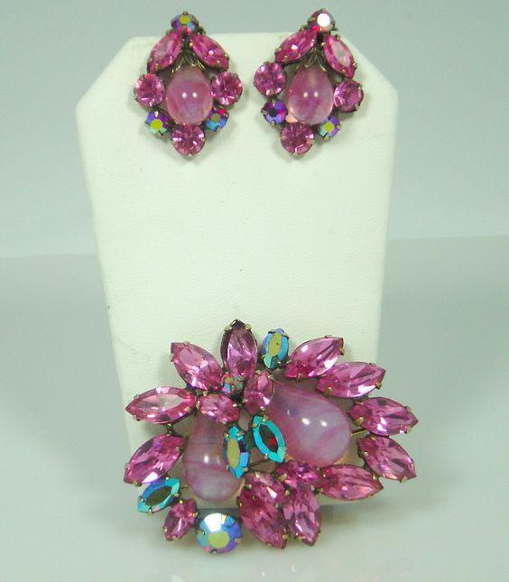 Regency Pink Rhinestone, AB and Opaque Stone Brooch Set