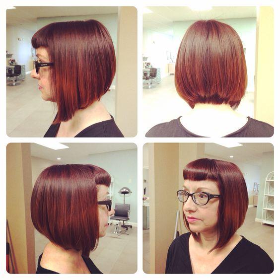 Dark red lava haircolor to bonfire splashlights fall haircolor 2014
