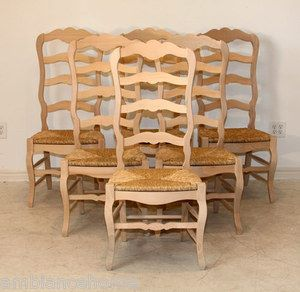 Unfinished Set Of 6 Country French Tall Ladder Back Side Chairs with Rush Seats