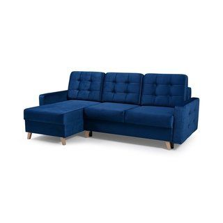 Vegas Futon Sectional Sofa Bed Queen Sleeper With Storage Navy Blue With Images Futon Sectional Sleeper Sectional Sectional Sofa