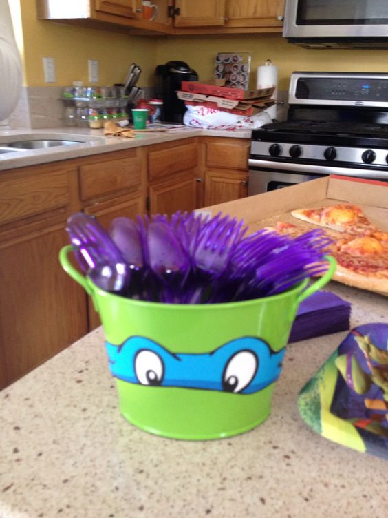 ninja turtle birthday party, food decorations: