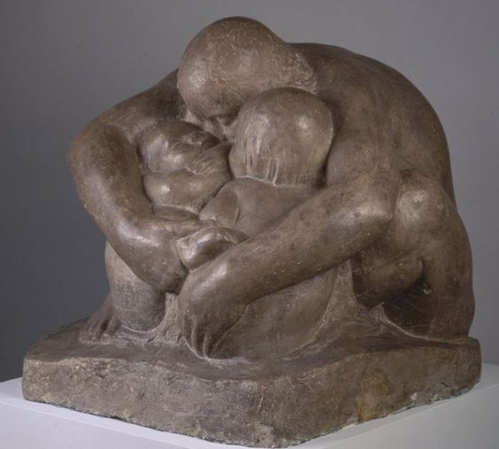 "Käthe Kollwitz, ""Mother with Two Children,"" Bronze Sculpture, 1932-1937.:"