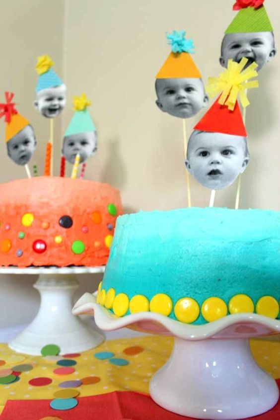Easy cake decorating idea: make toppers from photos of your child | via Catch My Party