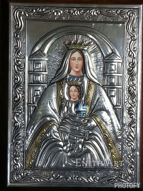 Virgen de Coromoto, Repujado en metal, pintura al Oleo: