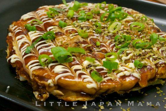 O-ko-no-mi-ya-ki!!!  ❤ little japan mama ❤: Okonomiyaki Recipe (with endless variations!): Japanese Food, Asian Food, Okonomiyaki Recipes, Japanese Cooking, Ebi Okonomiyaki, Shrimp Recipes, Food Recipe, Asian Okonomiyaki