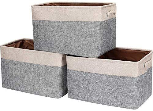 Amazon Com Hokemp Foldable Storage Bins 3 Pack 15 X 11 X 9 8 Inch Fabric Storage Basket Collapsible D In 2020 Storage Bins Fabric Storage Baskets Organizing Bins