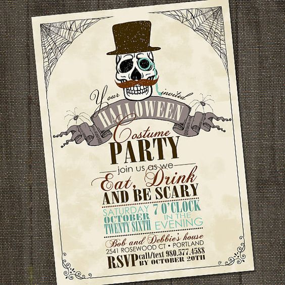 Vintage retro handsome skull halloween printable party for Vintage halloween party invitations