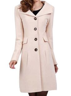 Women's Turn Down Collar Button Decorated Wool Trench Coat 2 Colors