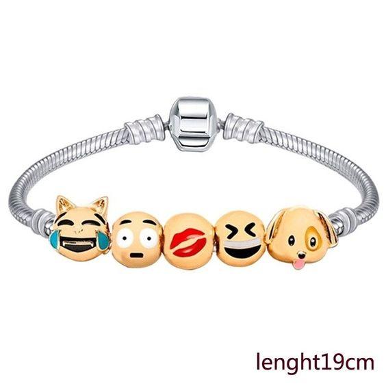 Emoji Charm Beads 18k Gold Plated bracelet Christmas Gift #Undisclosed