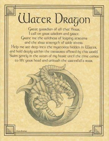 WATER DRAGON - POSTER Wicca Pagan Witch Witchcraft Goth Punk BOOK OF SHADOWS picclick.com: