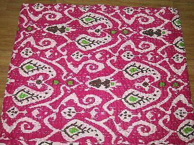 New Ikat Print Indian Kantha Quilt Sari Quilt Bedspread Bedcover Throw