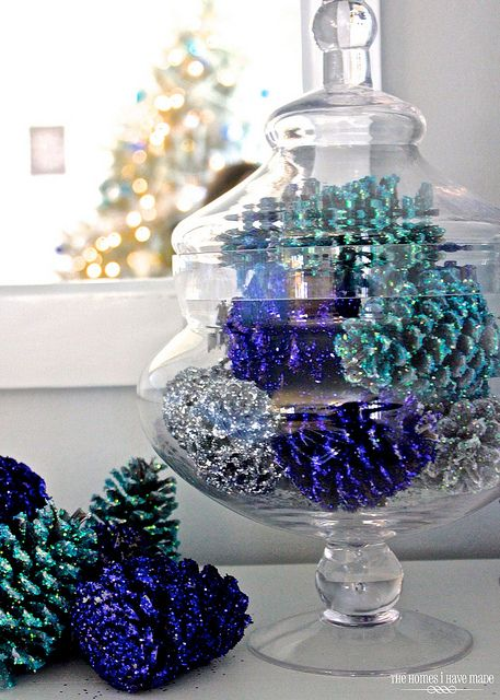 Blue glittered pinecones in a glass jar - easy tutorial!
