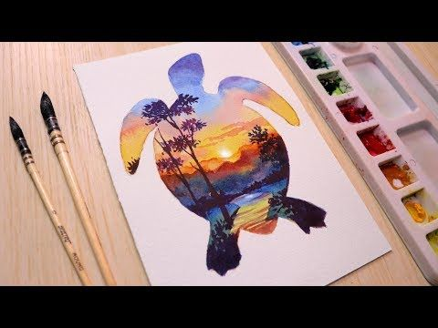 Watercolor Painting Tutorial Sunset Landscape Easy Double