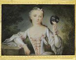 Madame de Pompadour with a mask, miniature  Keep in mind that her first assignation with the king was at a costume ball: