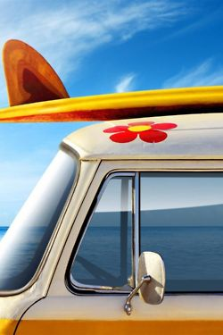 Van with surfboard and iconic 1960s flower #van #surfboard
