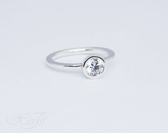 Engagement Ring - Bridal Jewelry - Wedding ring - Brilliant Cubic Zirconia - Made to fit, Sterling silver 925